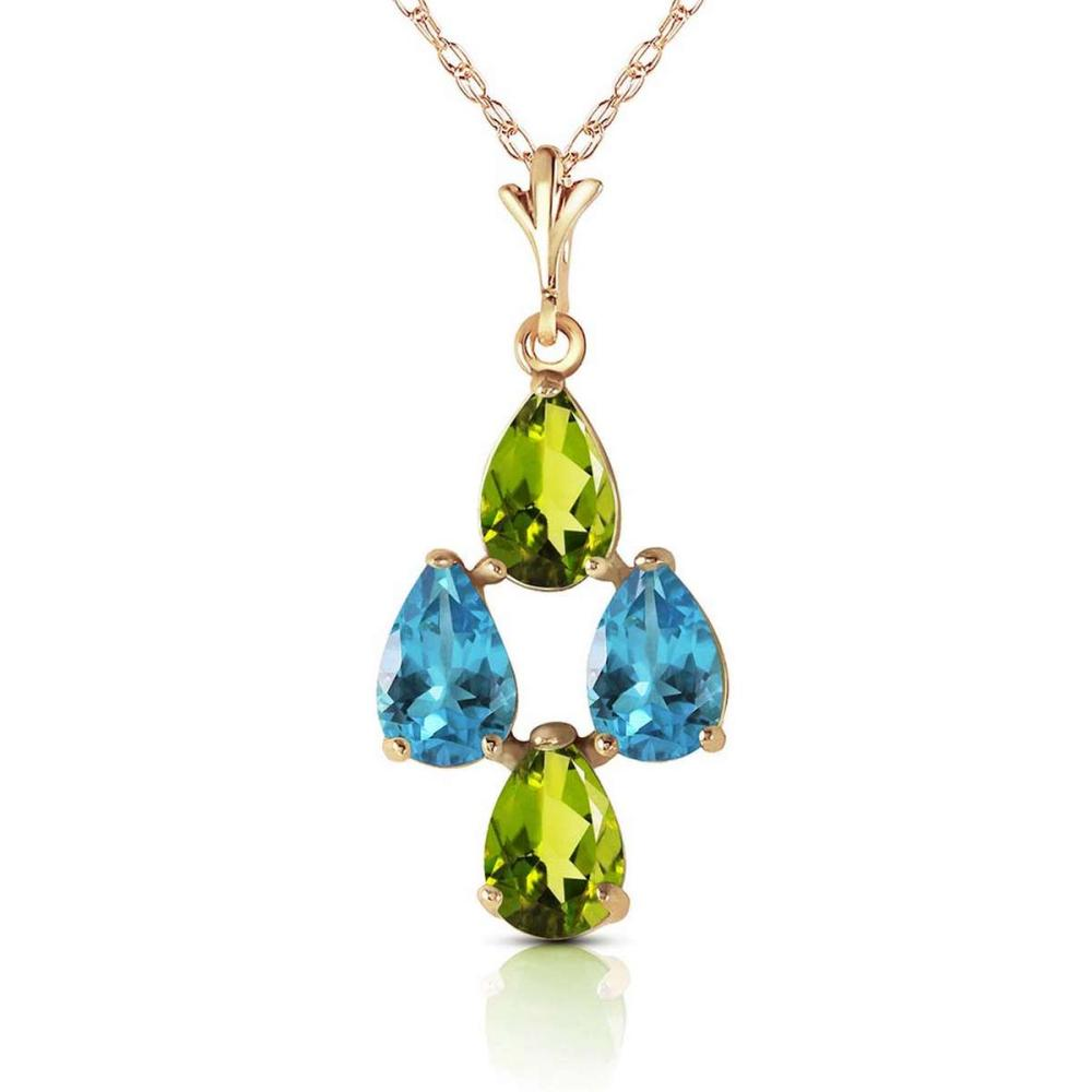 1.5 Carat 14K Solid Gold Necklace Natural Blue Topaz Peridot