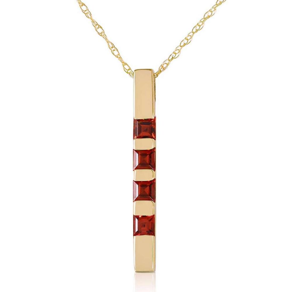 0.35 Carat 14K Solid Gold Necklace Bar Natural Garnet