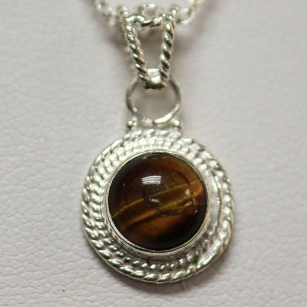 NATURAL TIGER EYE PENDANT 1.10 CTW .925 STERLING SILVER