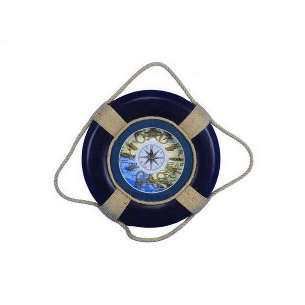 Vintage Blue Decorative Lifering Clock 15in.