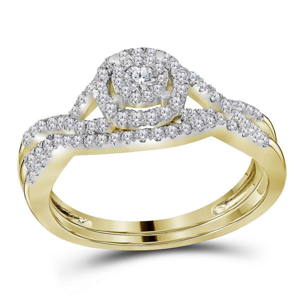 14kt Yellow Gold Round Diamond Bridal Wedding Engagement Ring Band Set 1/2 Ctw