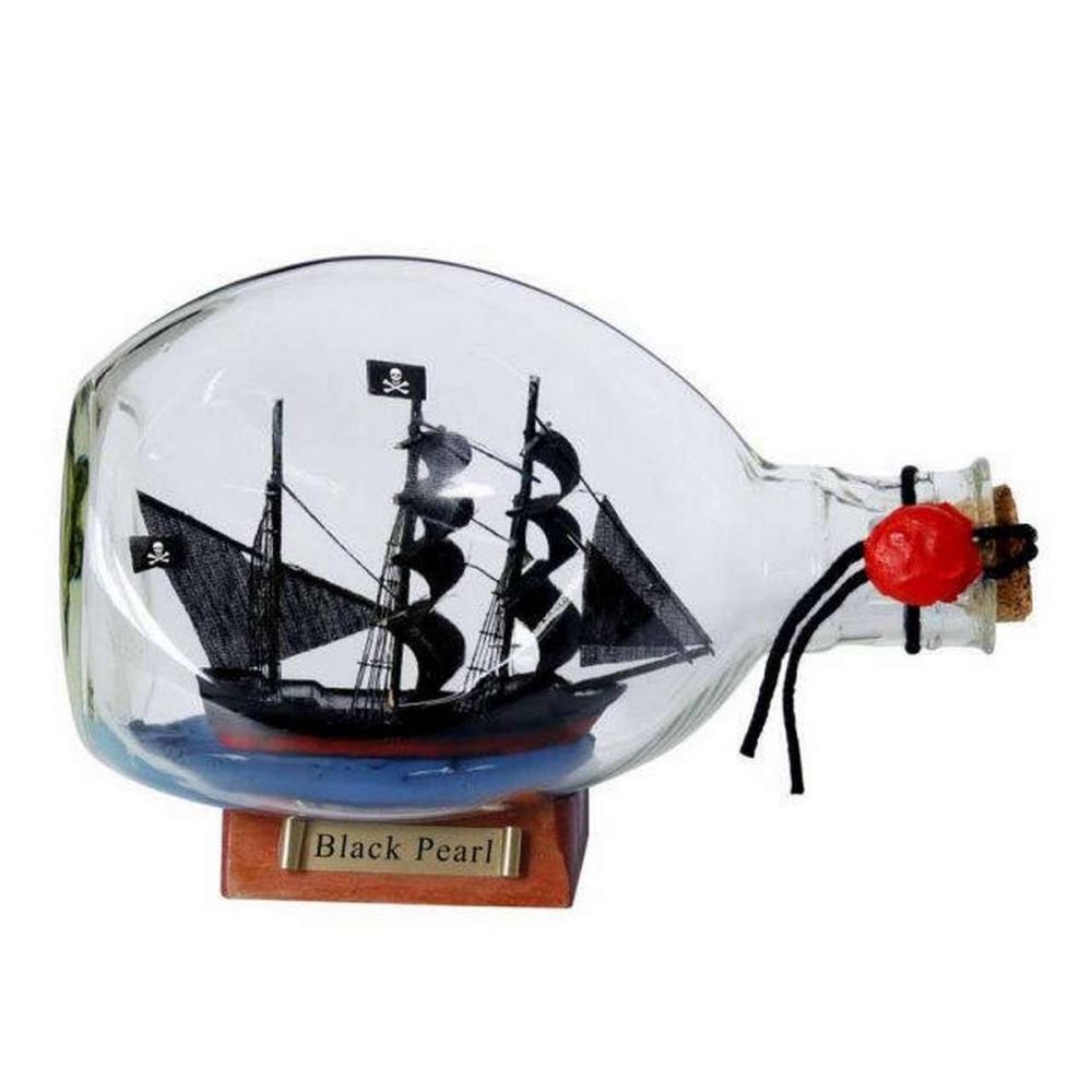 Black Pearl Pirate Ship in a Glass Bottle 7in.