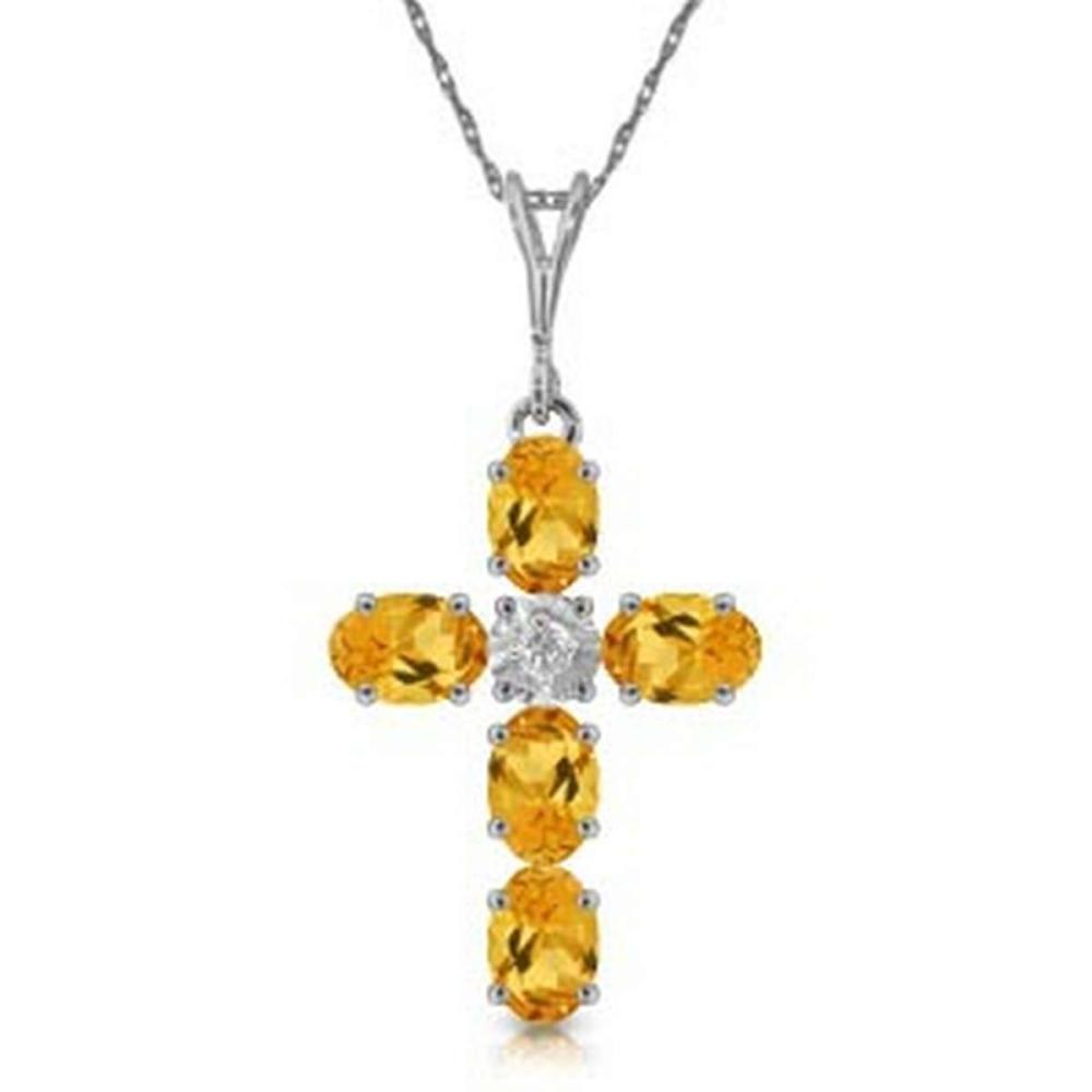 1.88 Carat 14K Solid White Gold Cross Necklace Natural Diamond Citrine
