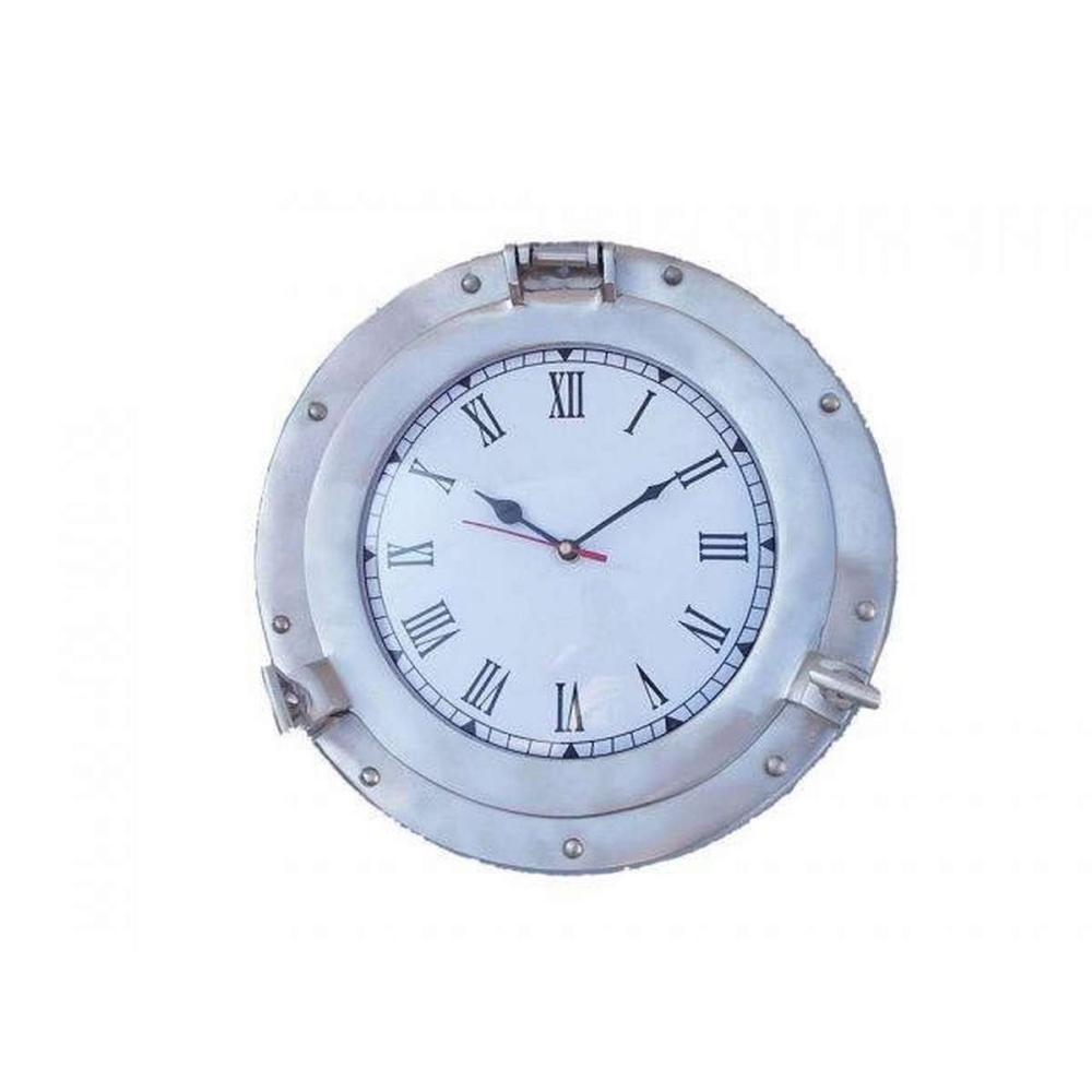 Brushed Nickel Deluxe Class Porthole Clock 12in.