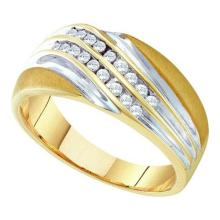 10kt Yellow Two-tone Gold Mens Round Channel-set Diamond Diagonal Double Row Wedding Band 1/4 Cttw