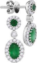 14kt White Gold Womens Oval Emerald Diamond Frame Dangle Earrings 1-1/2 Cttw