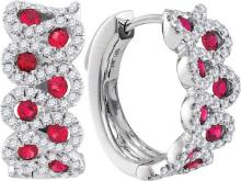 14kt White Gold Womens Round Ruby Outline Luxury Hoop Earrings 1-1/2 Cttw