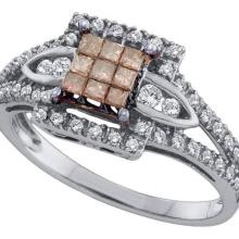 14kt White Gold Womens Princess Cognac-brown Colored Diamond Square Cluster Ring 1/2 Cttw
