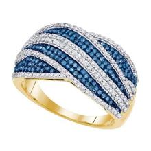 10kt Yellow Gold Womens Round Blue Colored Diamond Stripe Crossover Cocktail Ring 3/4 Cttw
