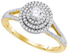 10kt Yellow Gold Womens Round Diamond Solitaire Triple Halo Split-shank Bridal Wedding Engagement Ring 1/2 Cttw