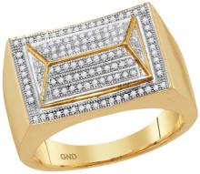 10kt Yellow Gold Mens Round Diamond Arched Triangle Cluster Ring 1/3 Cttw