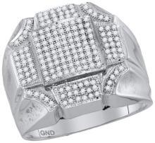 10kt White Gold Mens Round Diamond Octagon Concave Corner Cluster Ring 1/2 Cttw