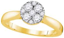 14kt Yellow Gold Womens Round Diamond Cluster Bridal Wedding Engagement Ring 1/2 Cttw