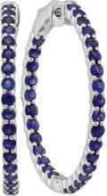 14kt White Gold Womens Round Blue Sapphire Inside Outside Hoop Earrings 3-3/4 Cttw