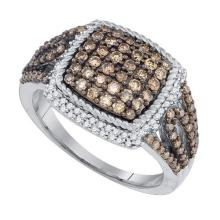 10kt White Gold Womens Round Cognac-brown Colored Diamond Square Rope Frame Cluster Ring 1-1/12 Cttw