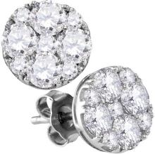 10kt White Gold Womens Round Diamond Cluster Screwback Earrings 1-3/4 Cttw
