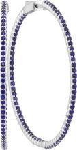 14kt White Gold Womens Round Blue Sapphire Large Slender Inside Outside Hoop Earrings 4-1/3 Cttw