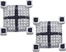 10kt White Gold Womens Round Black Colored Diamond 3D Cube Cross Square Earrings 5/8 Cttw