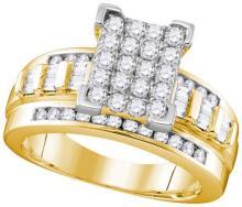 10kt White Gold Womens Round Diamond Framed Square Cluster Screwback Earrings 1.00 Cttw