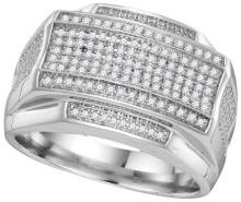 10kt White Gold Womens Round Pave-set Diamond Rectangle Cluster Ring 3/8 Cttw