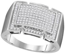 10kt White Gold Womens Round Pave-set Diamond Rectangle Cluster Ring 1/2 Cttw
