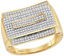 10kt Yellow Gold Mens Round Pave-set Diamond Rectangle Cluster Ring 3/4 Cttw
