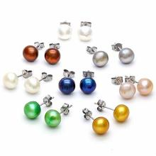 8 PAIRS MULTI COLOR MAN-MADE PEARL 925 STERLING SILVER SET