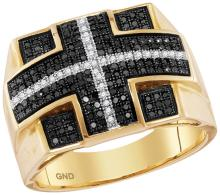10kt Yellow Gold Mens Round Black Colored Diamond Cross Stripe Square Cluster Ring 5/8 Cttw