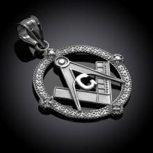 10K White Gold Round Freemason Diamond Masonic Pendant