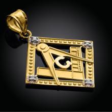10K Yellow Gold Square Freemason Diamond Masonic Pendant