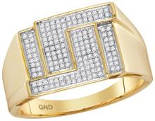 10kt Yellow Gold Mens Round Pave-set Diamond Angle Rectangle Cluster Ring 1/4 Cttw