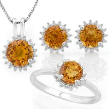 3 3/4 CARAT DARK CITRINE 925 STERLING SILVER SET ( Ring, Earrings and Pendant)