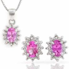 1.667 CARAT TW (6 PCS) CREATED PINK SAPPHIRE & GENUINE DIAMOND 925 STERLING SILVER SET