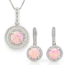 1 1/3 CARAT CREATED PINK FIRE OPALS & GENUINE DIAMONDS 925 STERLING SILVER JEWELRY SET