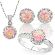 1 4/5 CARAT CREATED PINK FIRE OPAL & DIAMOND 925 STERLING SILVER SET