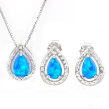 4/5 CARAT CREATED BLUE FIRE OPAL 925 STERLING SILVER SET