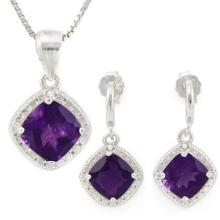 2 3/4 CARAT AMETHYSTS & GENUINE DIAMONDS 925 STERLING SILVER