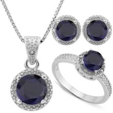 4.856 CARAT TW DYED GENUINE SAPPHIRE & GENUINE DIAMOND PLATINUM OVER 0.925 STERLING SILVER SET