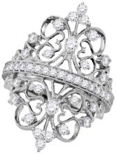 18kt White Gold Womens Round Diamond Crown Heart Symmetrical Cocktail Ring 1-1/5 Cttw