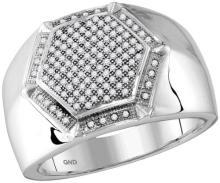 10kt White Gold Mens Round Diamond Hexagon Frame Cluster Ring 3/8 Cttw