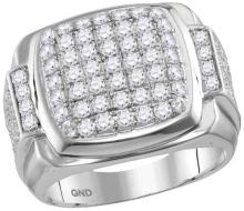 10kt White Gold Mens Round Diamond Square Symmetrical Cluster Ring 2-5/8 Cttw