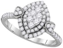 14kt White Gold Womens Round Diamond Oval Double Halo Cluster Ring 5/8 Cttw