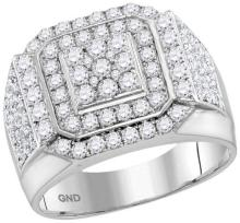 10kt White Gold Womens Round Diamond Double Frame Square Cluster Ring 2-1/2 Cttw