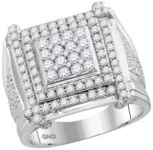 10kt White Gold Mens Round Diamond Framed Square Cluster Ring 2-3/4 Cttw