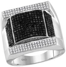 10kt White Gold Mens Round Black Colored Diamond Domed Rectangle Cluster Ring 1-1/12 Cttw