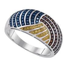 10kt White Gold Womens Round Blue Brown Yellow Colored Diamond Cocktail Ring 3/8 Cttw