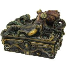HAND PAINTED COLD CAST RESIN STEAMPUNK OCTOPUS BOX 5 1/2
