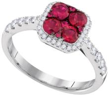 14kt White Gold Womens Round Ruby Square Frame Cluster Diamond Ring 1-1/10 Cttw