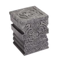 HAND PAINTED RESIN CELTIC CROSS BOX 2 3/4