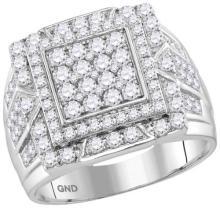 10kt White Gold Mens Round Diamond Framed Square Cluster Ring 2-1/4 Cttw